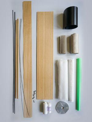 Kit DIY SNOWBOARD NATURAL fibres de lin, noyau bamboo, finition châtaignier